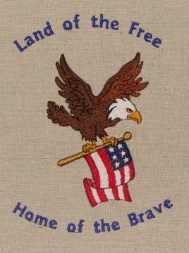 Home of Brave US Flag Embroidery design