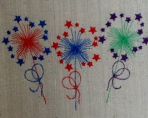 patriotic embroidery sparklers design